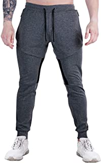 Wangdo Men's Zipper Pockets Joggers Pants - Casual Gym Workout Track Pants Comfortable Slim Fit Tapered Sweatpants