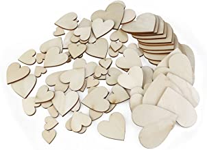 PIXNOR Heart Shaped Wood Slices Discs For Wedding Crafts Centerpieces Pack Of 80 (Wood Color)