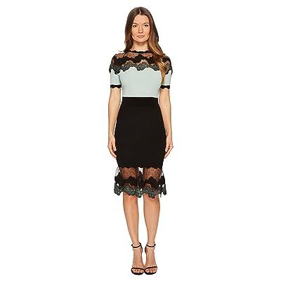 YIGAL AZROUEL Shell Lace Combo Short Sleeve Knit Dress (Seafoam) Women
