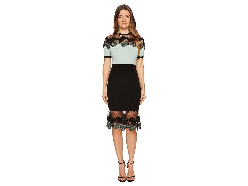 YIGAL AZROUEL Shell Lace Combo Short Sleeve Knit Dress (Seafoam) Women's Dress