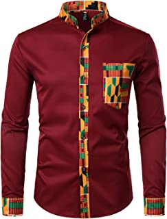 Men's Hipster Patchwork Design Slim Fit Long Sleeve Button up Mandarin Collar Shirts
