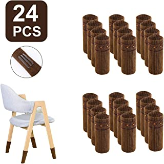Chair Socks, Chair Leg Floor Protectors Non Slip High Elastic Furniture Leg Socks Covers Washable Reusable for Tile Wood Ceramic Floor(24 Pcs, Brown with 6 Anti Falling Off Strips)