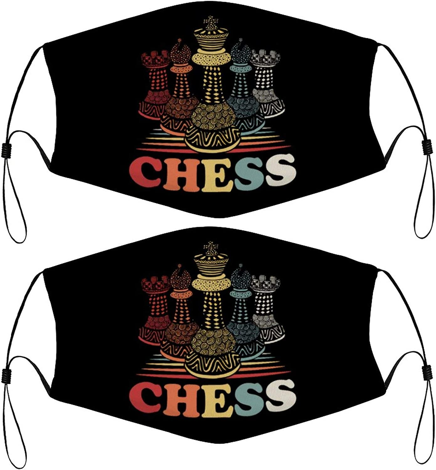 Chess Vintage Retro Kids Face Mask Set of 2 with 4 Filters Washable Reusable Adjustable Black Cloth Bandanas Scarf Neck Gaiters for Adult Men Women Fashion Designs