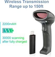 LS-PRO Wireless Barcode Scanner with USB Receiver, 2.4GHz Handheld 1D Cordless Laser Barcode Reader, UP to 150ft Transmission Range, Long-Life Battery 2200mAh, 1 Year Warranty.