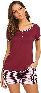 fe0365b924 MAXMODA Damen Schlafanzug Pyjama Baumwolle Shorty im Design mit  Knöpfeleiste Nachtwäsche Nachthemd Kurzarm Sleepwear S-