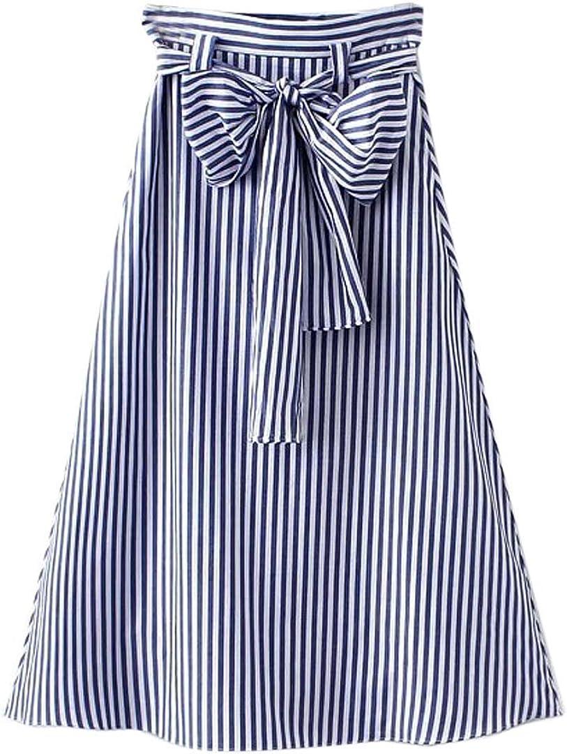 Choies Women's Casual Pleat Bowknot Front Midi Skirt