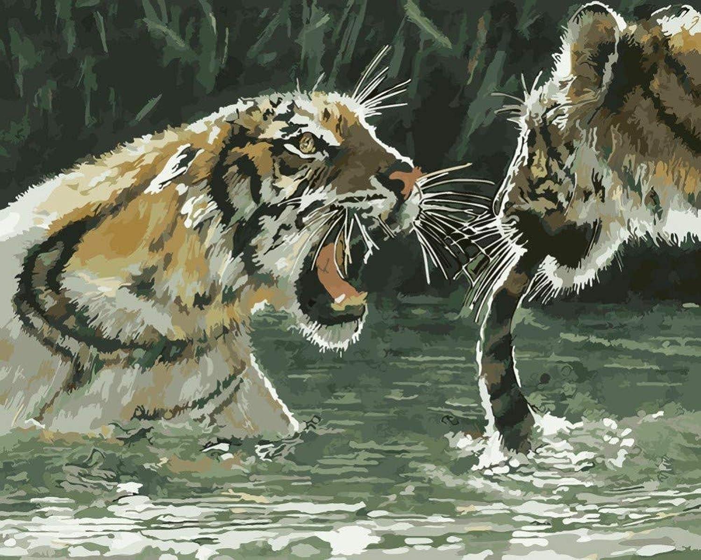 Diy Adult Malen Nach Zahlen Tiger Kaumlmpfen Im See See See Fuuml