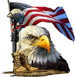 """Built USA Salute Our Flag American Bald Eagle Decal   Waterproof Permanent Collectible Patriotic American Flag Car Motorcycle Bicycle Skateboard Laptop Luggage Bumper Vinyl Decal   Size: 4""""   3 Packs"""