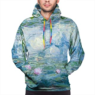 BJHAP Monet Water Lilies Willow Floral Spring Long Sleeve Pullover Hoodies Hooded Sweatshirts with Pockets Drawstring