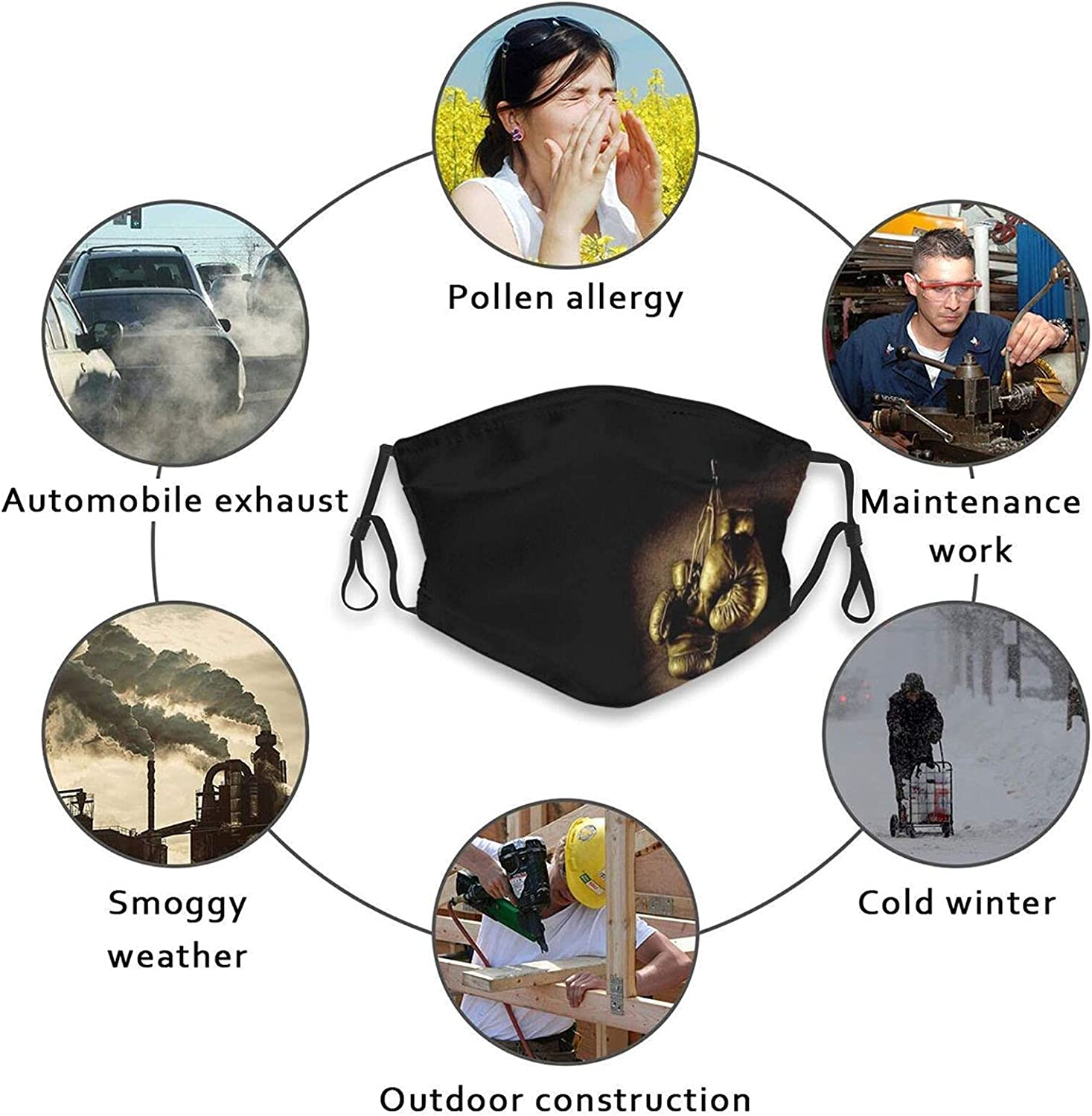 Cool Boxing Face Mask Reusable Washable Adjustable Balaclavas with 2 Filters Boxing Glove Mask for Men Women