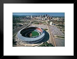 Poster Foundry Atlanta Fulton County Stadium Atlanta Georgia Skyline Aerial Photo Art Print Matted Framed Wall Art 26x20 inch