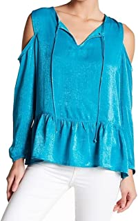 Women's Small Cold-Shoulder Satin Blouse
