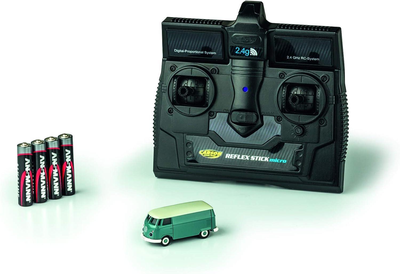 CARSON 500504118 - 1 87 VW T1 Bus Kastenwagen 2.4G 100% RTR, Fahrfertiges Modell, 2.4 GHz Fernsteuerung mit Ladeanschluss, inkl. 4xAAA Senderbatterien, mit LED Beleuchtung, Anleitung