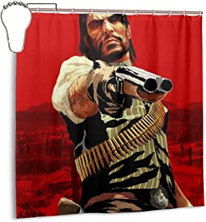 Red Dead Redemption 2 Shower Curtain John Marston Rockstar Games Waterproof Bath Shower Curtain for Bathroom Decor with Hooks 72X 72 Inch,Iron