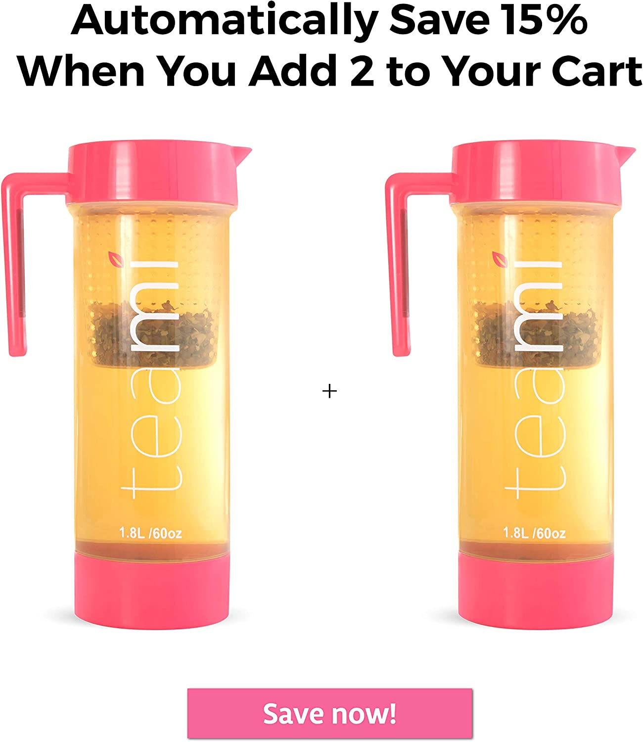 Juices Teami Tea Pitcher with Lid Fruit Infuser Strainer Carafe 60 Ounces Lemonade Perfect for Teas or Sangria Pink