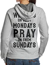 UR Fashions We Cuss Mondays Party On them Sundays Woman Hooded Fleece Cotton Print Sweatshirt For Women