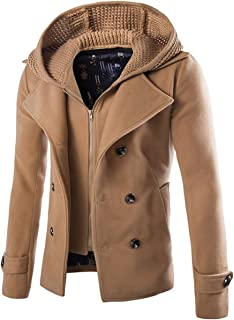 Cloudstyle Mens Wool Blend Coat Double Breasted Winter Outwear Pea Coats with Hoodie Warm Jacket