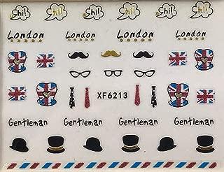 Nail Art 3D Decal Stickers London British UK Flag Gentleman Black Hat Hi