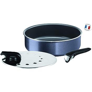 Tefal-L2319102-Ingenio Elegance Sauteuse 26 cm + 1 Poignée + 1 couvercle 26 cm Gris Pailleté Tous Feux sauf Induction