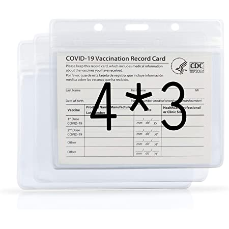 3 Pack CDC Vaccination Card Protector 4X3 in Immunization Record Vaccine Card Holder Horizontal Badge I'd Name Tags Clear PVC Sleeve Waterproof Type Resealable Zip w 3 Lanyard Slots for Events Travel