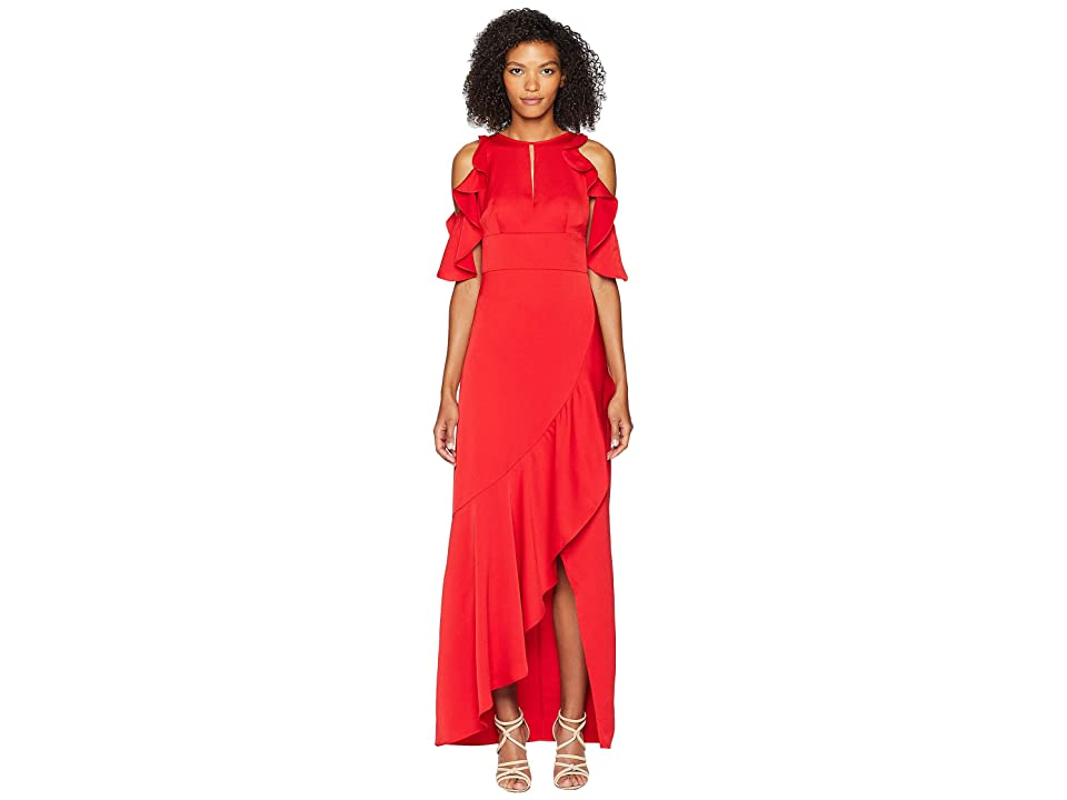 ML Monique Lhuillier Crepe Dress with Ruffle Skirt and Front Opening (Red) Women