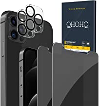"""QHOHQ 2 Pack Privacy Screen Protector for iPhone 12 Pro [6.1""""] with 2 Packs Tempered Glass Camera Lens Protector,Anti-Spy ..."""