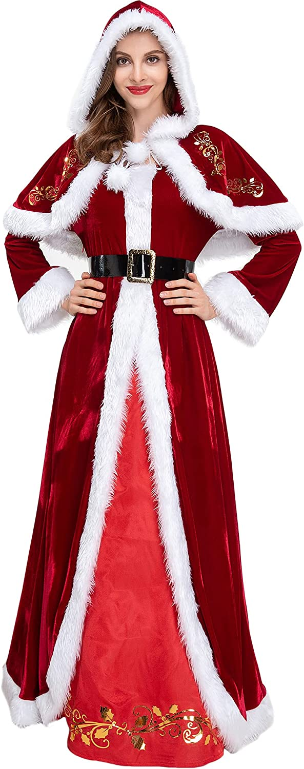 New life Low price Mrs. Claus Costume Deluxe Classic Christmas Cosplay L Queen Sexy