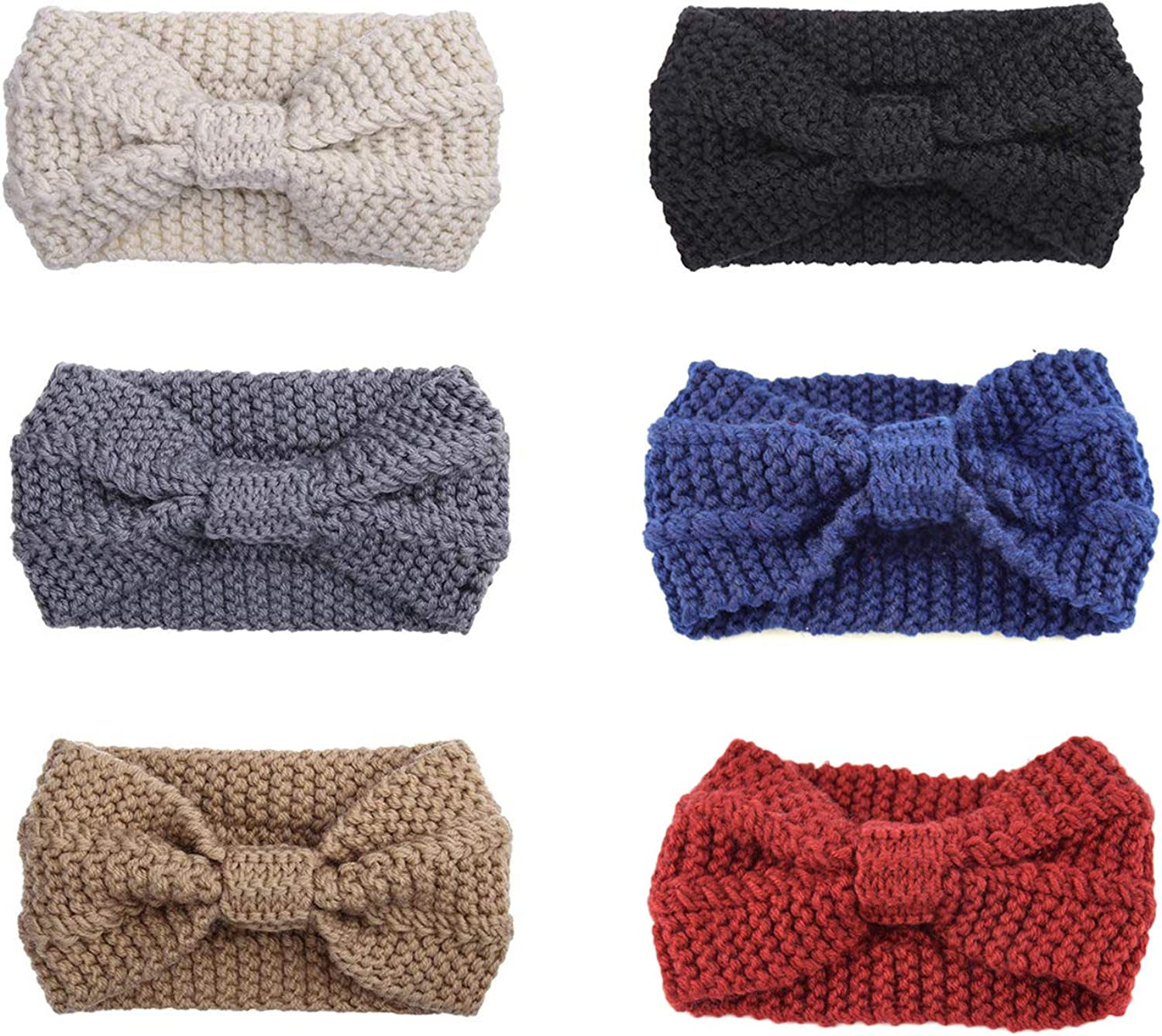 Vpang 6 Pcs Womens Winter Knitted Headbands Soft Crochet Hair Bands Turban Headband Ear Warmers Cable Bow Knotted Head Wraps for Women Girls