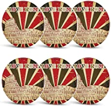 Quote Decor Custom Coasters,I Love Rome Lettering with Circus Tent and Bold Stripes Ancient for Wine Glasses Cups & MugsSet of 6