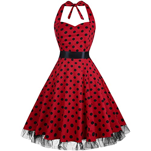 b792b6cd506e OTEN Vintage Dresses, Women Floral Print 1950's Rockabilly Halter Swing  Dress
