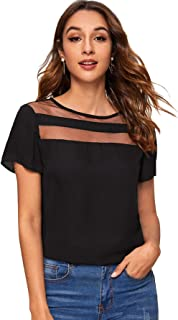 SheIn Women's Casual Short Sleeve Contrast Mesh Summer Blouse Tops Tee
