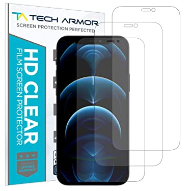 """Tech Armor HD Clear Plastic Film Screen Protector (NOT Glass) for Apple New iPhone 12 Pro Max (6.7"""") - Case-Friendly, Scratch Resistant, Haptic Touch Accurate [4-Pack]"""