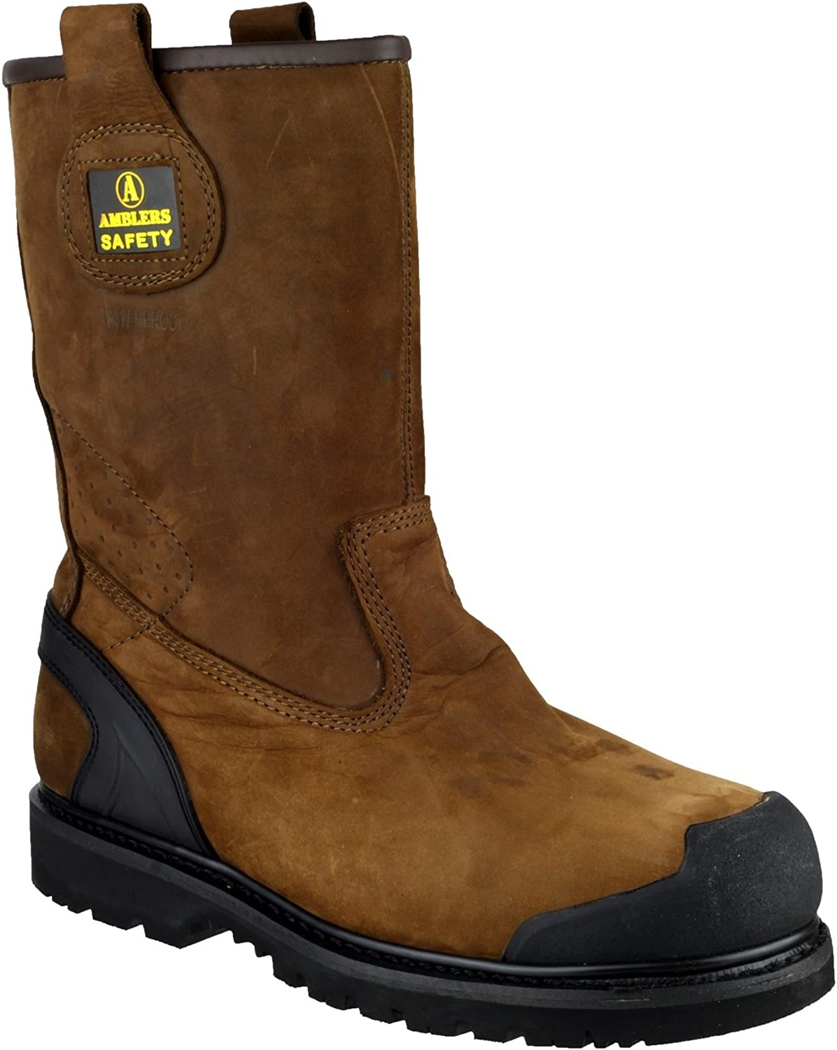 Mens Amblers Brown Leather Waterproof Safety Rigger Work Boots Sizes 7 8 9 10 11 12 13