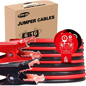 TOPDC Jumper Cables 6 Gauge 16 Feet Heavy Duty Booster Cables with Carry Box (Or Bag) (6AWG x 16Ft)