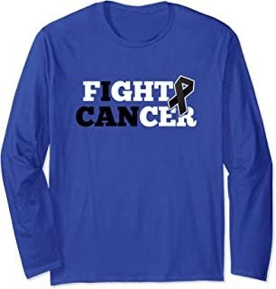 Fight Cancer Melanoma Skin Black Ribbon Awareness Long Sleeve T-Shirt