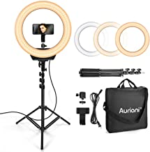 """$74 » Auriani Ring Light Kit 16"""" 3200K-5600k Color and Brightness Dimmable LED O Ring Light with Stand, Carrying Bag, Camera and Phone Holder for YouTube, Makeup, Vlogging, Self-Portrait Shooting, 110V-240V"""