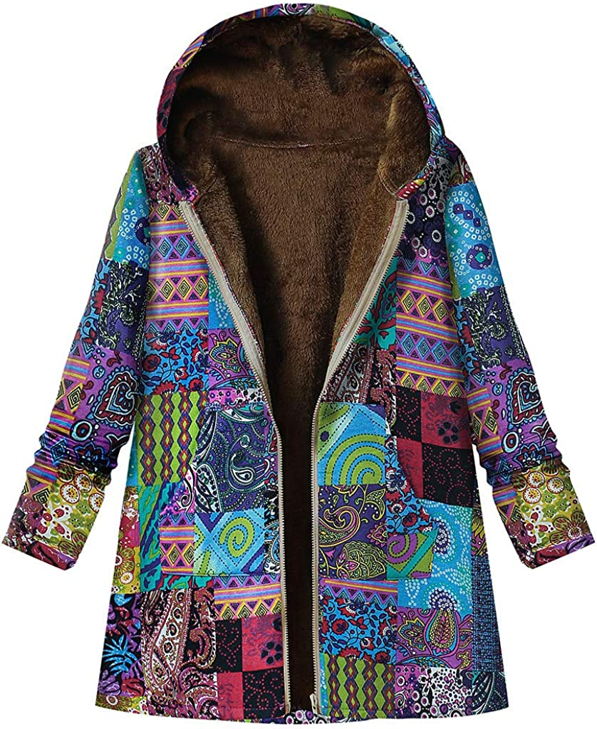 Women's Coats Vintage Cotton and Linen Hooded Coat Ethnic Print Plus Sizes