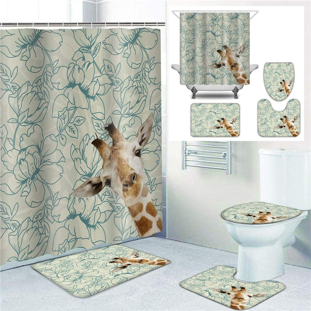 Bathroom Decoration Shower Curtain Sets Fresno Mall Li Max 42% OFF with Toilet Rugs