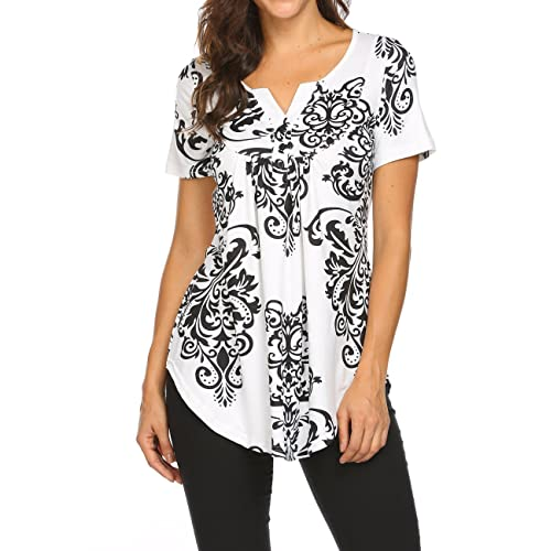 2ce9568a6479f4 Women s Paisley Printed Long Sleeve Henley V Neck Pleated Casual Flare  Tunic Blouse Shirt