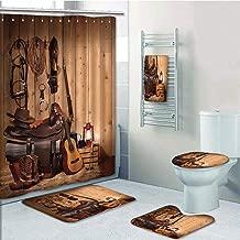 Bathroom 5 Piece Set shower curtain 3d print,Western Decor,American Texas Style Country Music Guitar Cowboy Boots USA Folk Culture,Cream and Brown,Bath Mat,Bathroom Carpet Rug,Non-Slip,Bath Towls