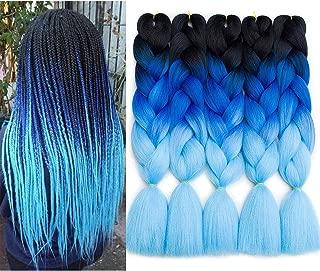 RN BEAUTY Ombre Braiding Hair 5 pcs/lot Good Cheap Synthetic Braiding Hair Extensions Heat Resistant Jumbo Braids High Temperature Fiber Twist Crochet Weave Braid 24 Inch 3 Tone Color Black/Blue/Azure