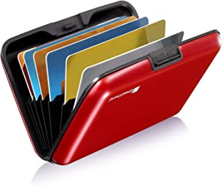 GreatShield RFID Blocking Wallet [8 Slots   Aluminum] Portable Travel Identity ID / Credit Card Safe Protection Card Holder Hard Case for Men and Women (Red)