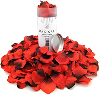 WAKISAKI Aritificial Rose Petals, Deodorized Seperated Ready-to-use, for Wedding Propose Romantic Party Event Decoration (1000 Count, Red & Dark)