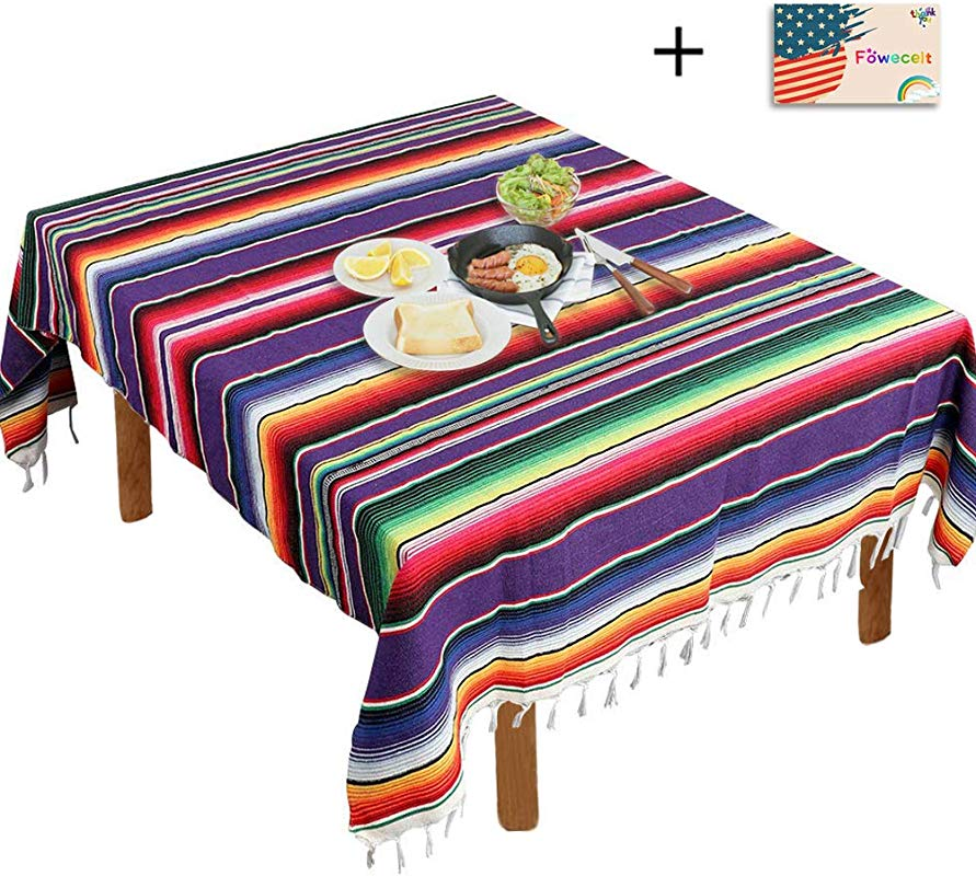 Focushow Mexican Serape Blanket Tablecloth 59 X 84 Inch For Mexican Party Wedding Decorations Outdoor Picnics Dining Table Large Square Fringe Cotton Handwoven Table Cloth