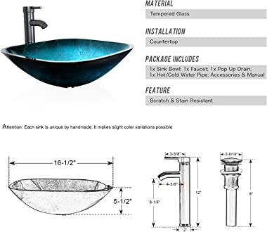 """eclife 16.5"""" Turquoise Square Bathroom Sink Artistic Tempered Glass Vessel Sink Combo with Faucet 1.5 GPM and Pop up Drai"""