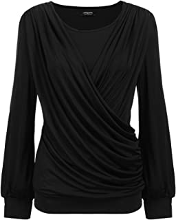 Women Drape Tops Stretchy Round Neck Tops Short Sleeve Front Pleated Blouse