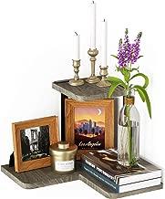 SRIWATANA Rustic Corner Shelf, 2-Tier Wood Wall Shelf, Wall Mounted Storage Shelves for Bedroom, Living Room, Bathroom, Weathered Grey