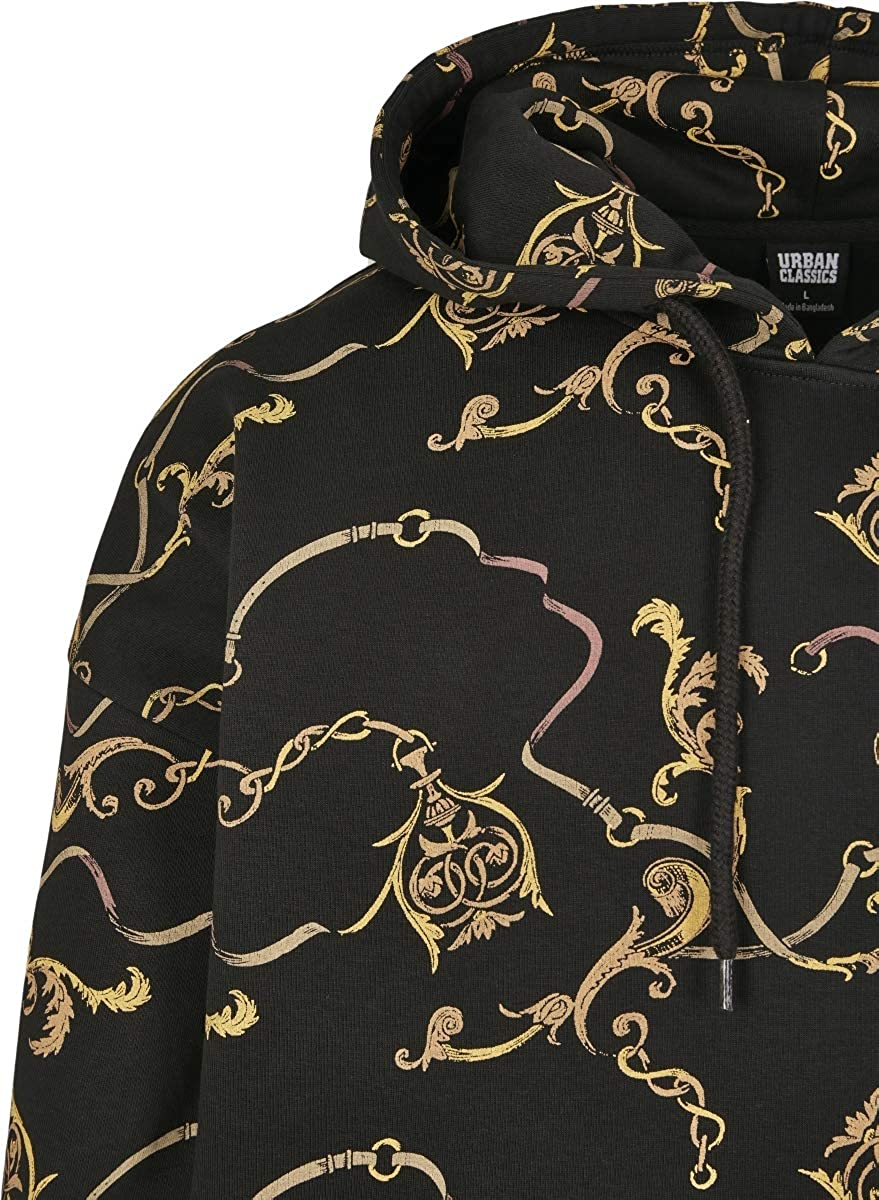 Urban Classics Kapuzen-Sweatshirt All-Over Luxury Print Oversized Hoody Sweat-Shirt À Capuche Homme Noir (Black 00007)