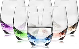 Rainbow Multi Colored Shot Glasses Set of 6 - Exceptional Design - for Tequila, Liquor, Vodka - Hard, Small, Durable, Cool,Crystal Clear - 2 Ounces / 60 Milliliters