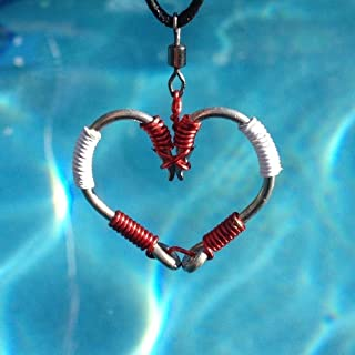 The ORIGINAL FISH HOOK HEART Necklace - Red and White Wire on Silver Hooks